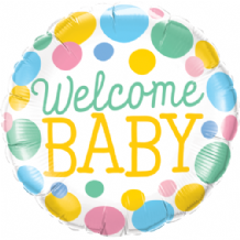 "Welcome Baby Dots Foil Balloon (18"") 1pc"